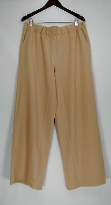 H by Halston Pants Sz 16 Stretch Twill Pull-On Wide Leg Pants Beige A269418