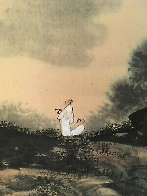 Antique Chinese scroll mountains with a small man in white, dark purple colour