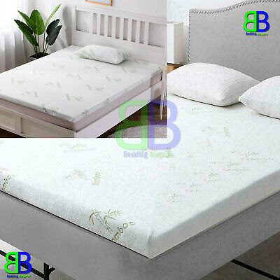 2 inch Bamboo Memory Foam Mattress Topper Thick Zipped Cover All UK Bed Sizes