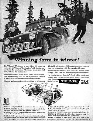 Triumph TR-3 on The Slopes WINNING FORM IN WINTER 1960 Magazine Ad