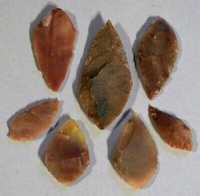 African Neolithic Stone Projectile Knapped Arrowhead Points Sahara Desert Africa