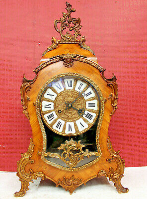 Old Clock Vintage 8 Day Mantle Clock Louis XV Boulle  Rococo Walnut inlaid