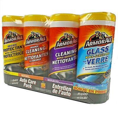 Armor All 4 Pack 200 Wipes Original, Orange, Surfaces and Glass Auto Care Pack