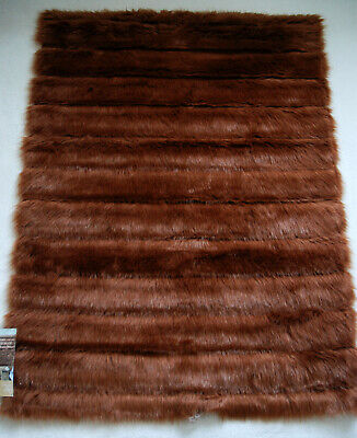 BNIB NEXT BROWN GINGER FAUX FUR RUG 120cmx90cm Fluffy Sleek Shiny RRP £90