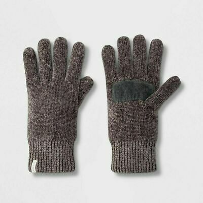 Isotoner Women's Chenille Gloves Palm Patch Ultraplush Lining Chrome Gray One Sz