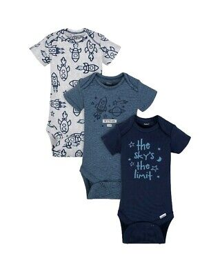 Gerber Organic Cotton Preemie Baby Boy 3 Pack Short Sleeve Onesies Clothes
