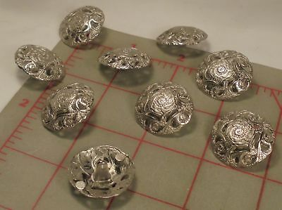 15mm 24L Beige Cream /& Antique Silver Metal 2 Hole Filigree Craft Buttons K267