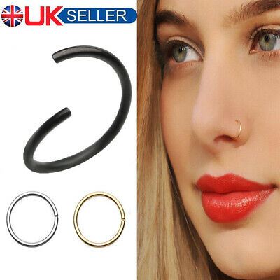 Surgical Steel Thin Small Nose Ring Hoop 0.8mm Cartilage Piercing Studs 6/8/10mm