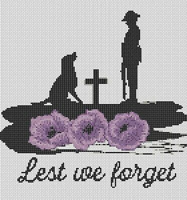 Cross Stitch Chart  PDFONLY Lest we forget  Remembrance Daysoldier flowerpower37