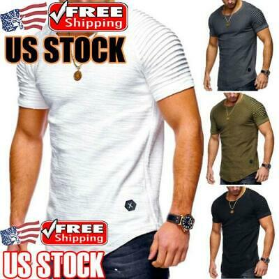 Men's Slim Fit O Neck Short Sleeve Muscle Tee T-shirt Casual Tops Blouse Shirts