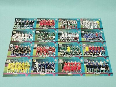 Panini Adrenalyn XL Uefa Euro EM 2020  alle 16 Play-Off Team Karten komplett
