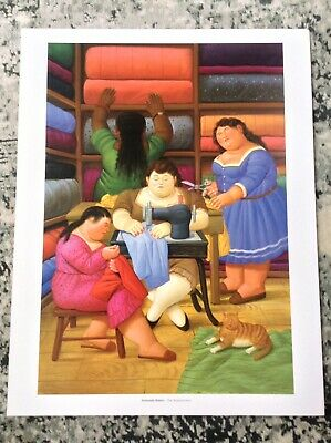 Fernando Botero PRINT Vintage 2006 Art Figurative Painting Fat Cat On The Roof