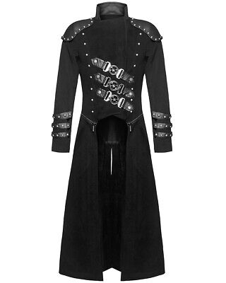 Punk Rave Mens Long Gothic Trench Coat Black Dieselpunk Military Zip Off Jacket