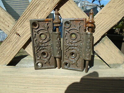 "Antique Pair Door Hinges Art Deco Vine and Leaf 4"" x 1 1/2"""