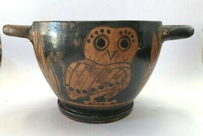 Ancient Greek Apulian Red Figure Owl