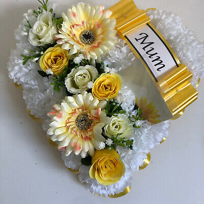 Heart Shaped Silk Artificial Funeral Flowers Wreath/MemorialGrave Tribute Yello