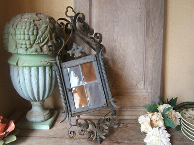ANTIQUE HUGE FRENCH WROUGHT IRON and STAINED GLASS VICTORIAN PORCH LANTERN 1940