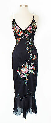 Mandalay Black Embroidered Butterfly Floral Beaded Sequin Satin Slip Dress Sz 2
