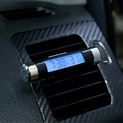 Dashboard / Car Air Vent Clip On Thermometer Digital LCD Display Backlight Clock