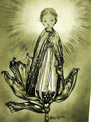 Sulamith Wulfing 1937 CHILD w HALO from BLOOMING FLOWER RELIGION Print Matted