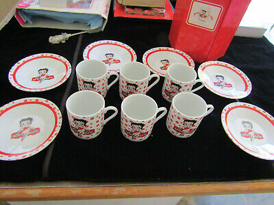 Betty Boop Set Of 6 Small Cups And Saucers NEW Boxed