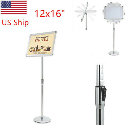 "12x16""Adjustable Pedestal Poster Stand Telescoping Menu Post Tradeshow Frame US"
