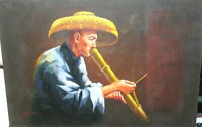 L. Yung Chinese Man Smoking In A Bamboo Pipe Original Oil On Canvas Painting