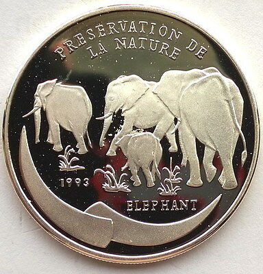 Congo 1993 Elephant 1000 Francs Silver Coin,Proof