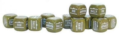 Warlord Bolt Action  Bolt Action Orders Dice - Olive Drab (12) (Rounded C MINT