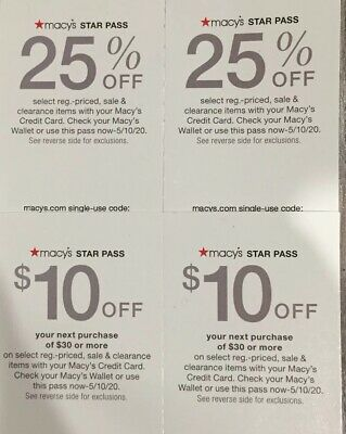 Macy's Star Pass Coupon 2 X $10 Off Purchase Of $30 Or More And 2 X 25% Off