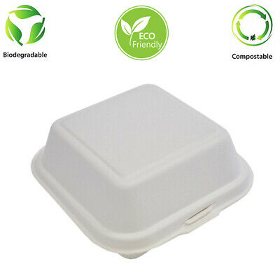 "5"" x 5"" Bagasse Burger Box Biodegradable 500 Pcs"