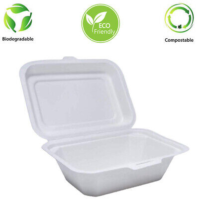 "7"" x 5"" Bagasse Chip Box Biodegradable 125 Pcs"