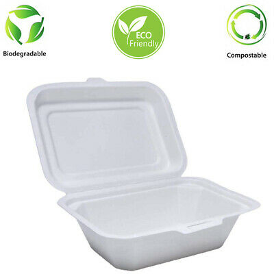 "7"" x 5"" Bagasse Chip Box Biodegradable 250 Pcs"