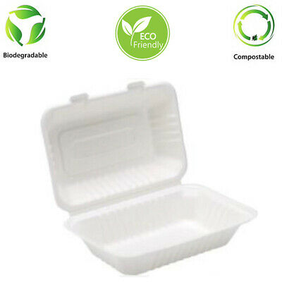"9"" x 6"" Bagasse Clam shell Meal Box Biodegradable 250 Pcs NEXT DAY DELIVERY"
