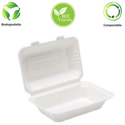"9"" x 6"" Bagasse Meal Box Biodegradable 500 Pcs"
