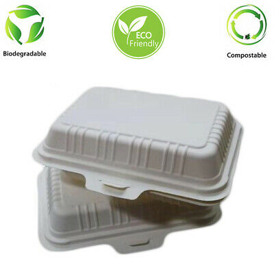 Cornstarch 450 ml Box Clam Shell Food Containers  Biodegradable 125 Pcs