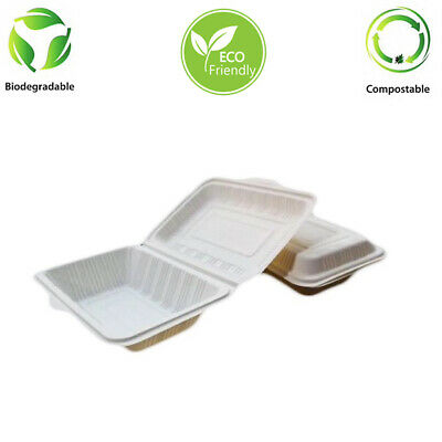Cornstarch 600 ml Box Clam Shell Food Containers  Biodegradable 125 Pcs