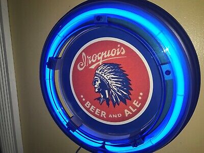 ***Iroquois Beer Bar Advertising Man Cave Blue Neon Wall Sign