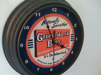 Griesedieck St. Louis MO Beer Bar Man Cave Advertising Black Wall Clock Sign