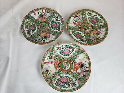 """Excellent group of 3 antique chinese famille rose plates, 6"""""""