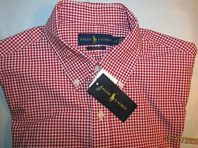 NWT Ralph Lauren Large L L/S Slim Fit Bright Red/White Checker Dress Shirt PONY