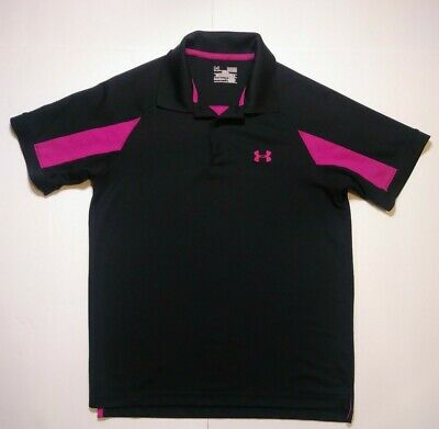 Under Armour Mens Golf Polo Shirt Breast Cancer Heat Gear Size M Black Pink