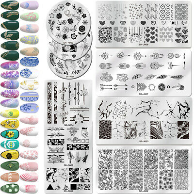 Nail Art Stamping Plates Fantastic Tropical Geometry Image Plate Rectangle Round