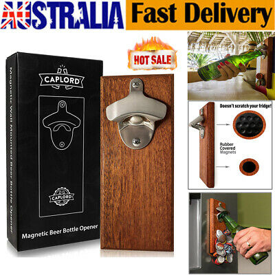 Wall Mounted Bottle Opener with Magnetic Cap Catcher Wooden Refrigerator Mounted