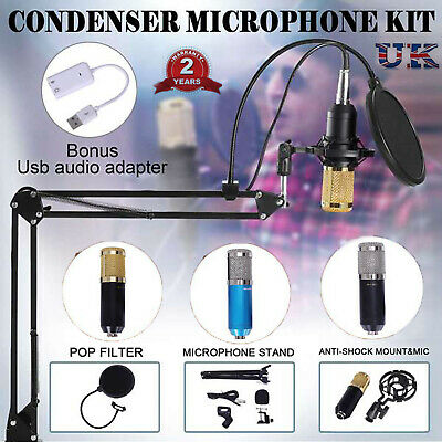 BM800 Condenser Microphone Mic Kit Live Studio Sound Recording Mount Boom Stand