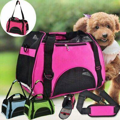 Nylon & Mesh Pet Carrier Soft Sided Large Cat Dog Comfort Travel Tote Bag Travel
