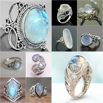 Antique 925 Silver Moonstone Ring Women Men Wedding Jewelry Party Gift Sz6-10