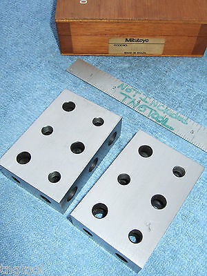 Mitutoyo 1-2-3 Blocks W/Case Toolmaker Machinist Grind Mill Inspection Quality!!