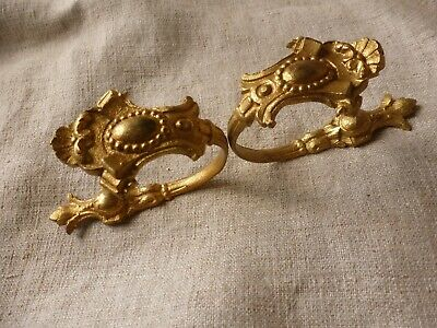 Antique Pair Of Gilt French Curtain Hold Back Hooks