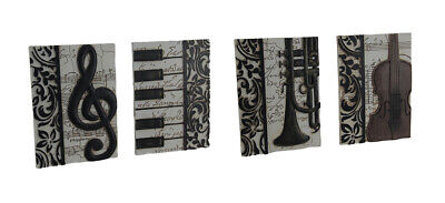 Zeckos 4 Piece Set of Elegant Music Inspired Decorative Wall Plaques